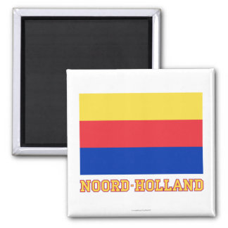 Noord-Holland Flag with name 2 Inch Square Magnet