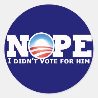 Nope Classic Round Sticker
