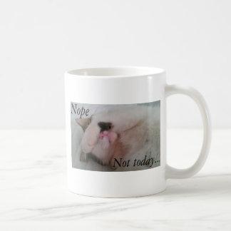 """Nope not today"" sleepy cat hiding eyes Coffee Mug"