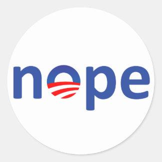 Nope Obama Classic Round Sticker