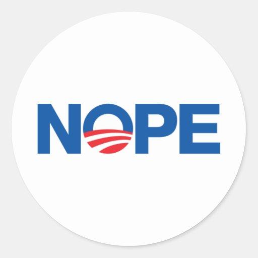 Nope Obama Pegatinas Redondas