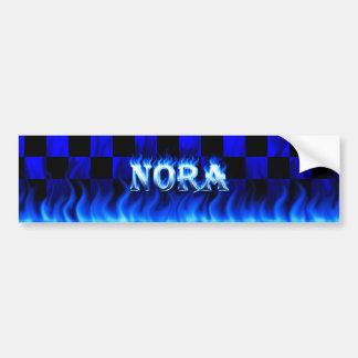 Nora blue fire and flames bumper sticker design. car bumper sticker