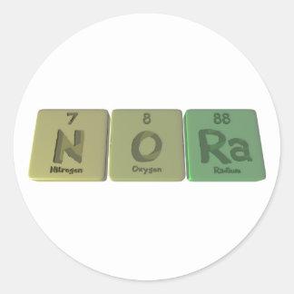 Nora como radio del oxígeno del nitrógeno pegatina redonda
