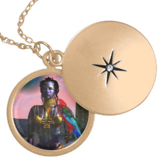NORA CYBER WARRIOR LOCKET NECKLACE