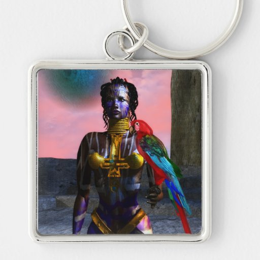 NORA CYBER WARRIOR Silver-Colored SQUARE KEYCHAIN