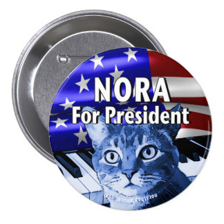 Nora For President Button In Blue #3