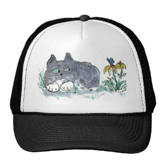 Nora, Gray Tiger, Encounters a Blue Butterfly Trucker Hat