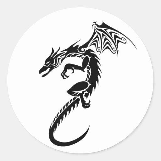 Norberto el dragón negro etiqueta redonda