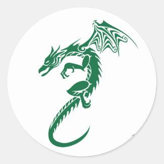 Norberto el dragón verde etiquetas redondas