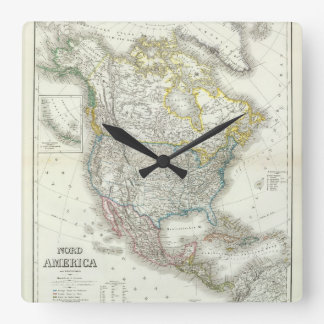 Nord America. Square Wall Clock