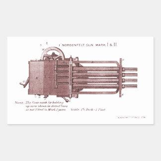 Nordenfelt Minigun Pegatina Rectangular