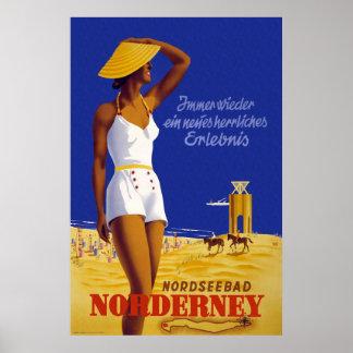 """""""Norderney"""" Vintage German Travel Poster"""