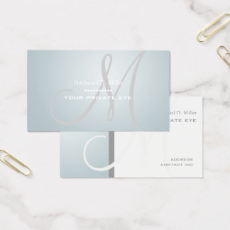 Nordic Blue Ice Monogram Business Card