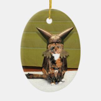 Nordic Cat is Not Amused Ceramic Ornament