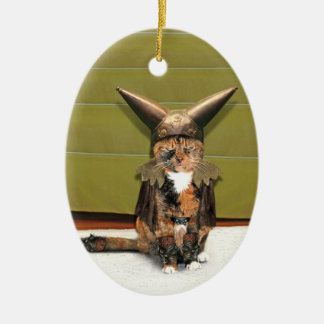 Nordic Cat is Not Amused Christmas Ornament