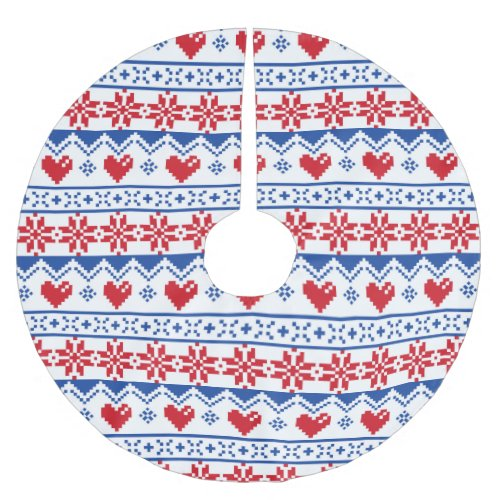 Nordic Christmas in Red & Blue Brushed Polyester Tree Skirt