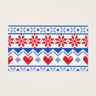 Nordic Christmas in Red & Blue Business Card
