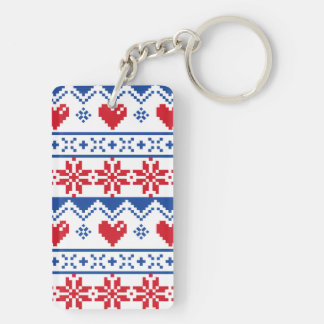 Nordic Christmas in Red & Blue Keychain