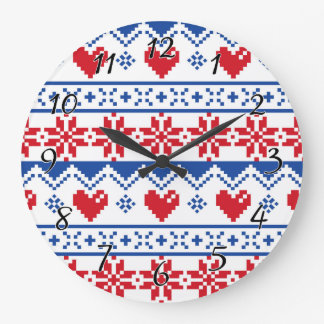 Nordic Christmas in Red & Blue Large Clock