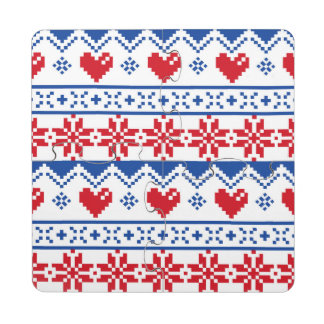 Nordic Christmas in Red & Blue Puzzle Coaster