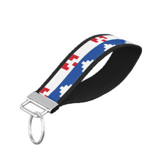 Nordic Christmas in Red & Blue Wrist Keychain