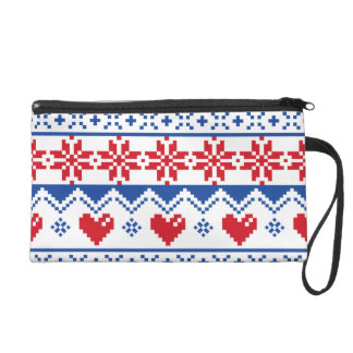 Nordic Christmas in Red & Blue Wristlet