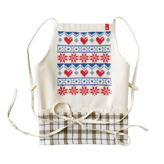 Nordic Christmas in Red & Blue Zazzle HEART Apron