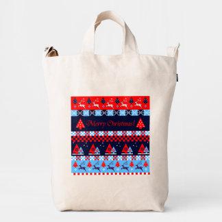 Nordic christmas pattern & Merry Christmas text Duck Bag