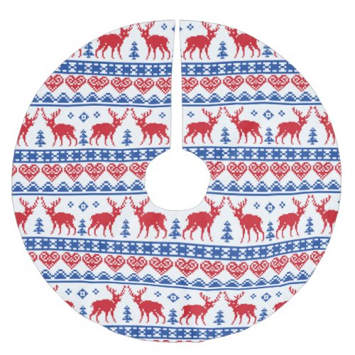 Nordic Christmas Reindeer Pattern Brushed Polyester Tree Skirt