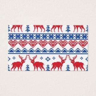 Nordic Christmas Reindeer Pattern Business Card