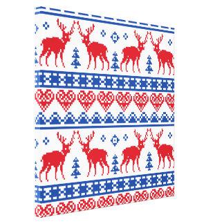 Nordic Christmas Reindeer Pattern Canvas Print