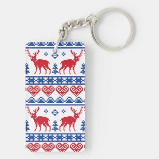 Nordic Christmas Reindeer Pattern Keychain