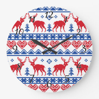 Nordic Christmas Reindeer Pattern Large Clock