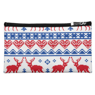 Nordic Christmas Reindeer Pattern Makeup Bag