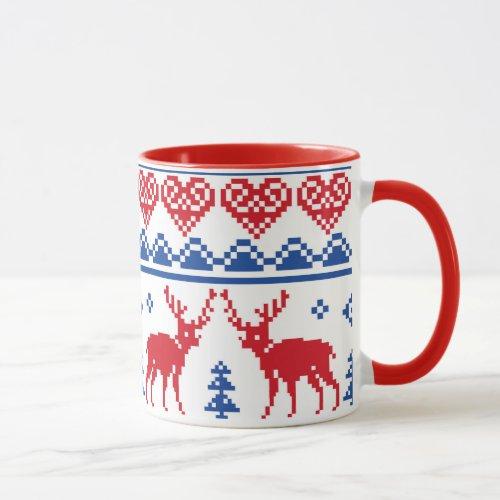 Nordic Reindeer Pattern Mug