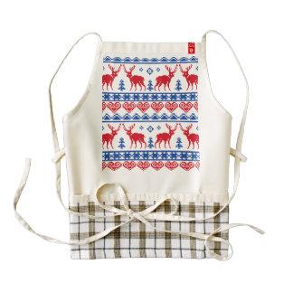 Nordic Christmas Reindeer Pattern Zazzle HEART Apron