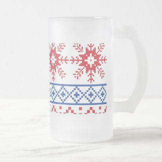 Nordic Christmas Snowflake Borders Frosted Glass Beer Mug