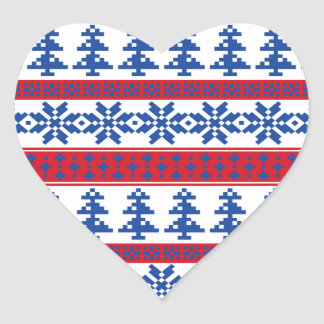 Nordic Christmas Trees Heart Sticker