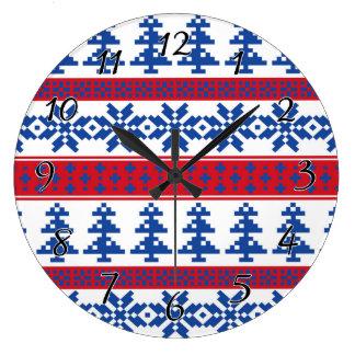 Nordic Christmas Trees Large Clock