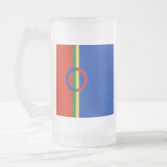 Nordic Circle Red Blue Color Stripe Drinks Glass Frosted Glass Beer Mug at Zazzle