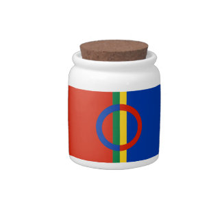 Nordic Circle Red Blue On Color Stripe Candy Jar