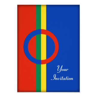 Nordic Circle Red Blue On Color Stripe Party Event Card