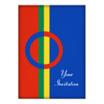 Nordic Circle Red Blue On Color Stripe Party Event 5x7 Paper Invitation Card