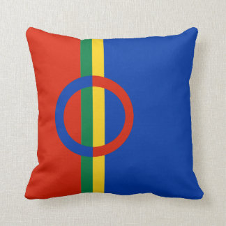 Nordic Circle Red Blue On Color Stripe Pillow