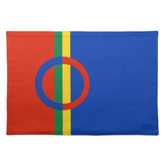 Nordic Circle Red Blue On Color Stripe Placemat Cloth Placemat