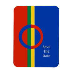 Nordic Circle Red Blue Save The Date Flexi Magnet at Zazzle