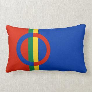 Nordic Circle Red Blue Throw Pillow Lumbar at Zazzle