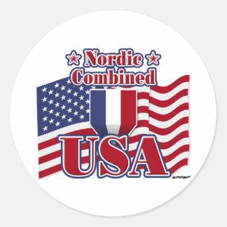 Nordic Combined USA Classic Round Sticker
