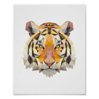 Nordic geometrical tiger design poster