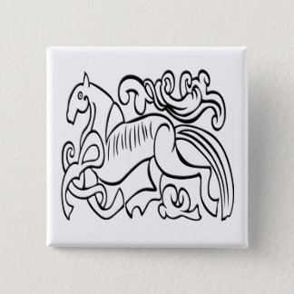 Nordic Horse black and white graphic image Button